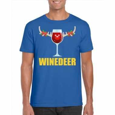 Foute kerstborrel t shirt blauw winedeer heren