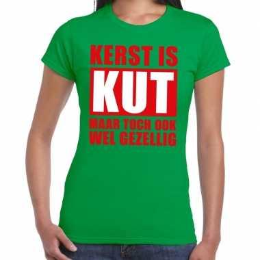 Foute kerstborrel t shirt groen kerst is kut maar ook gezellig groen