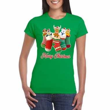Foute kerstborrel t shirt groen kerstsokken diertjes dames