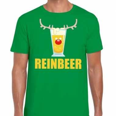 Foute kerstborrel t shirt groen reinbeer heren