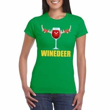 Foute kerstborrel t shirt groen winedeer dames