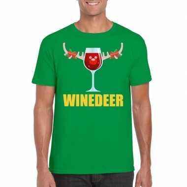 Foute kerstborrel t shirt groen winedeer heren