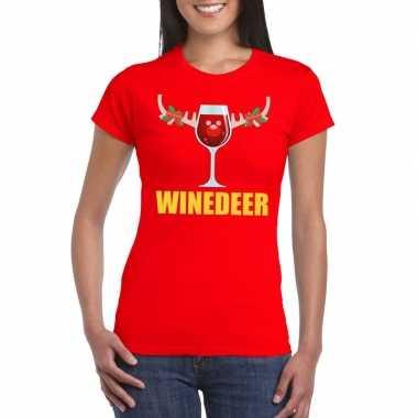 Foute kerstborrel t shirt rood winedeer dames