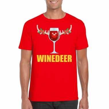 Foute kerstborrel t shirt rood winedeer heren