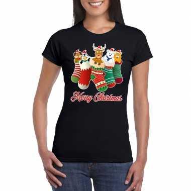 Foute kerstborrel t shirt zwart kerstsokken diertjes dames