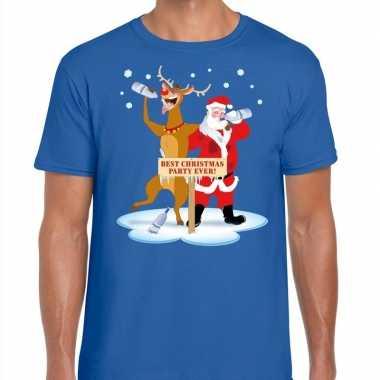 Foute kerstmis shirt blauw een dronken kerstman rudolf heren