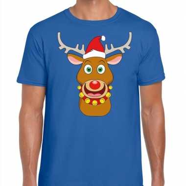 Foute kerstmis shirt blauw ruldolf rendier rode muts heren
