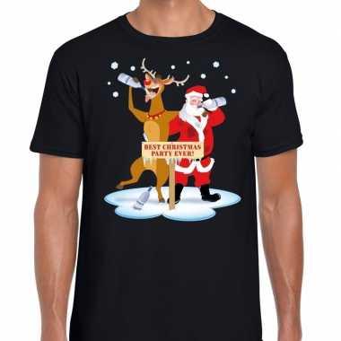 Foute kerstmis shirt zwart een dronken kerstman rudolf heren