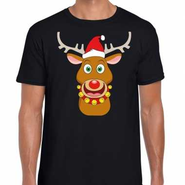 Foute kerstmis shirt zwart ruldolf rendier rode muts heren