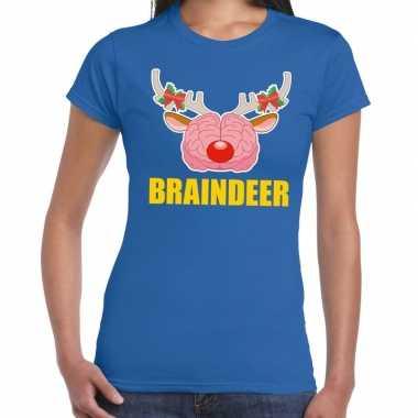 Foute kerstmis t shirt braindeer blauw dames