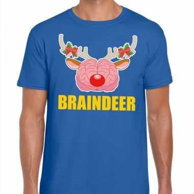 Foute kerstmis t shirt braindeer blauw heren