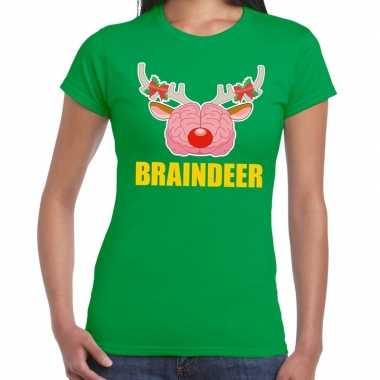 Foute kerstmis t shirt braindeer groen dames