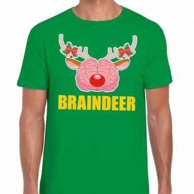Foute kerstmis t shirt braindeer groen heren