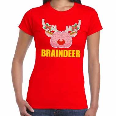 Foute kerstmis t shirt braindeer rood dames