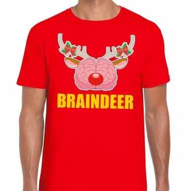 Foute kerstmis t shirt braindeer rood heren