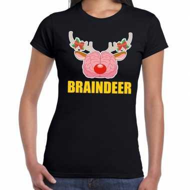 Foute kerstmis t shirt braindeer zwart dames