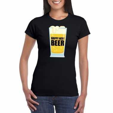 Foute oud nieuw shirt happy new beer zwart dames