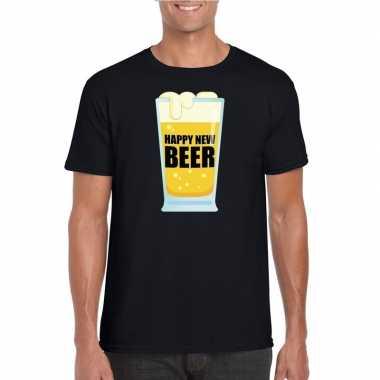 Foute oud nieuw shirt happy new beer zwart heren