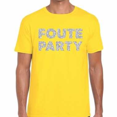 Foute party zilveren letters fun t shirt geel heren