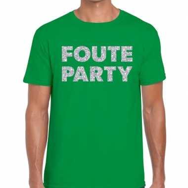 Foute party zilveren letters fun t shirt groen heren