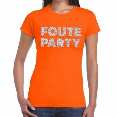 Foute party zilveren letters fun t shirt oranje dames