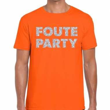 Foute party zilveren letters fun t shirt oranje heren