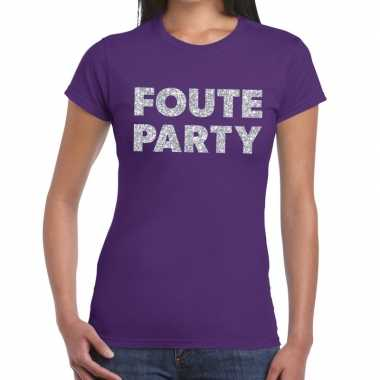 Foute party zilveren letters fun t shirt paars dames