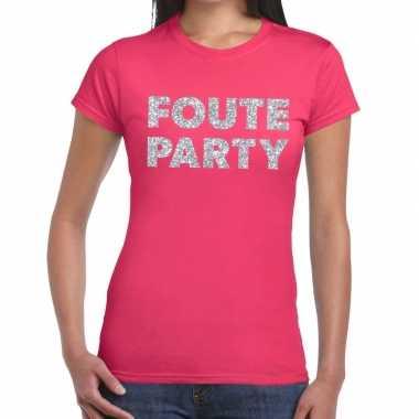 Foute party zilveren letters fun t shirt roze dames