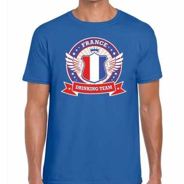 France drinking team t shirt blauw heren