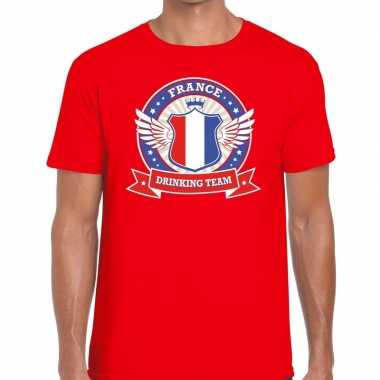France drinking team t shirt rood heren