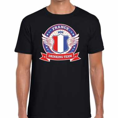 France drinking team t shirt zwart heren