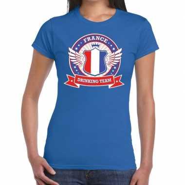 Frankrijk drinking team t shirt blauw dames