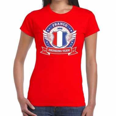 Frankrijk drinking team t shirt rood dames