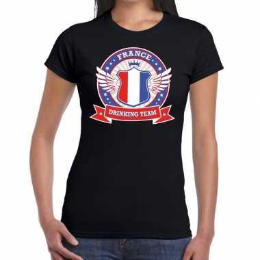 Frankrijk drinking team t shirt zwart dames