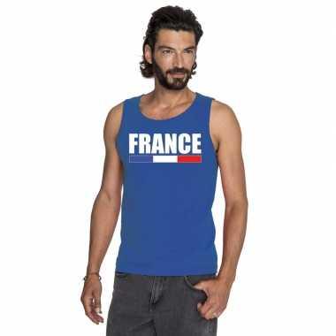 Frankrijk supporter mouwloos shirt/ tanktop blauw heren