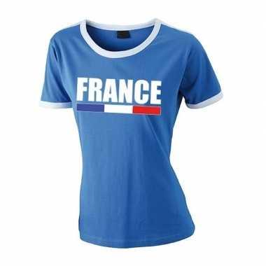 Franse supporter ringer t shirt blauw witte randjes dames