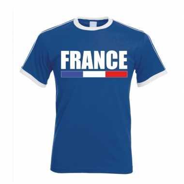 Franse supporter ringer t shirt blauw witte randjes heren