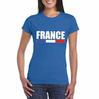 Franse supporter t shirt blauw dames