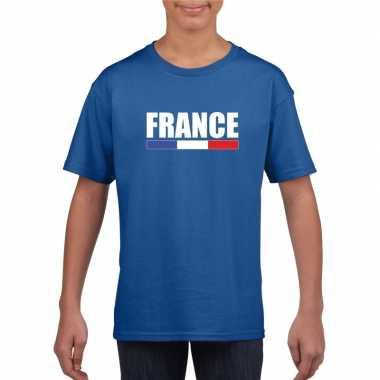 Franse supporter t shirt blauw kinderen