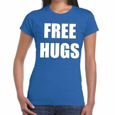 Free hugs fun t shirt blauw dames