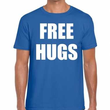 Free hugs fun t shirt blauw heren
