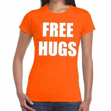 Free hugs fun t shirt oranje dames