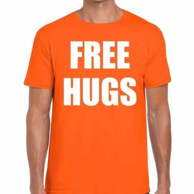 Free hugs fun t shirt oranje heren
