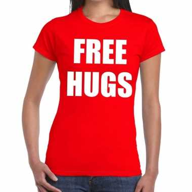 Free hugs fun t shirt rood dames