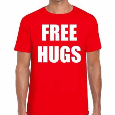 Free hugs fun t shirt rood heren