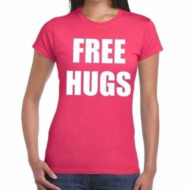 Free hugs fun t shirt roze dames