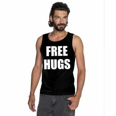 Free hugs mouwloos shirt zwart heren