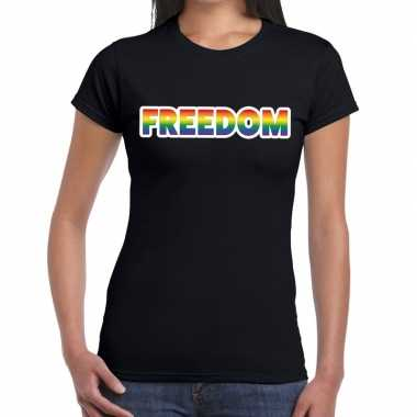 Freedom gaypride tekst/fun shirt zwart dames