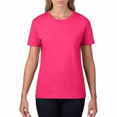 Fuchsia roze dames casual t shirts ronde hals