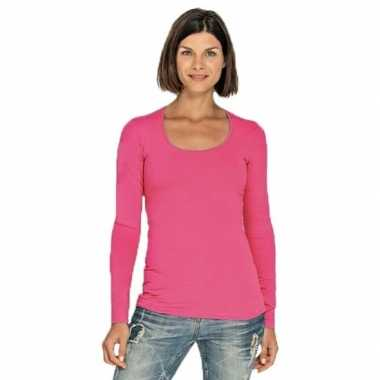 Fuchsia roze longsleeve shirt ronde hals dames